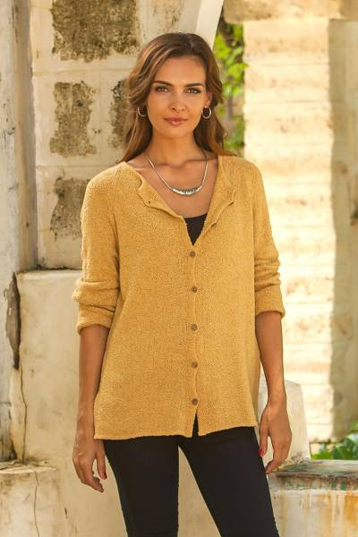 Pima cotton cardigan, 'Everyday in Amber' - Pima Cotton Cardigan in Amber from Peru
