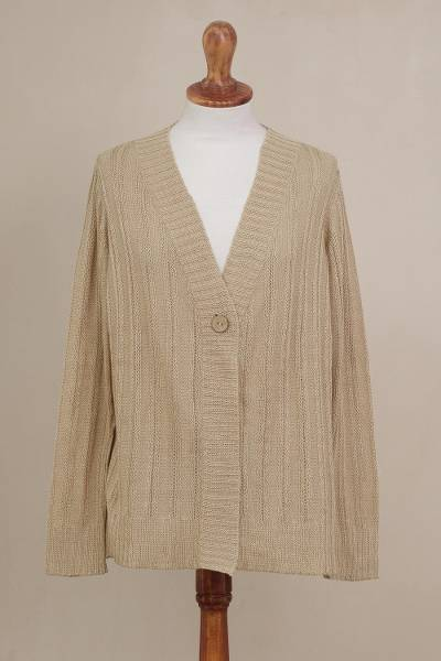 Pima cotton cardigan, 'Morning Warmth in Sand' - Pima Cotton Cardigan in Sand from Peru
