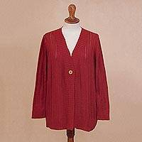 Pima cotton cardigan, 'Morning Warmth in Crimson' - Crocheted Pima Cotton Cardigan in Crimson from Peru