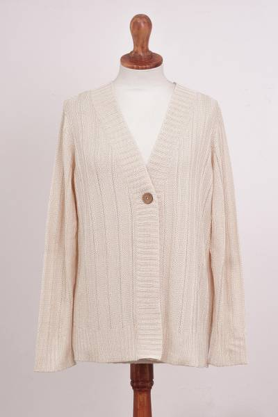 Pima cotton cardigan, 'Morning Warmth in Alabaster' - 100% Pima Cotton Cardigan in Alabaster NOVICA Peru