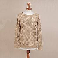 Pima cotton pullover, 'Sweet Warmth in Sand' - Crocheted Pima Cotton Pullover in Sand from Peru