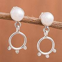 Cultured pearl dangle earrings, 'Sacred Quinoa' - Quinoa-Themed Cultured Pearl Earrings from Peru