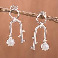 Cultured pearl dangle earrings, 'Quinoa Arches' - Cultured Pearl Dangle Earrings Crafted in Peru