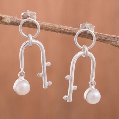 Novica Cultured pearl drop earrings, Glowing Quinoa