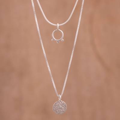 Sterling silver pendant necklace, 'Ancestral Quinoa' - Sterling Silver Multi-Chain Pendant Necklace from Peru