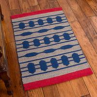 Llama wool area rug, 'Vibrant Future' (2x3) - Llama Wool Area Rug in Blue and Taupe (2x3) from Peru
