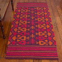 Llama wool area rug, 'Sunset Arrows' (2.5x5.5) - Handwoven Sunset Llama Wool Area Rug (2.5x5.5) from Peru