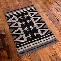 Reversible llama wool area rug, 'Ancient Mythology' (2x3) - Llama Wool Area Rug in Black and Brown (2x3) from Peru