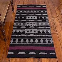 Reversible llama wool area rug, 'Ancestral Patterns in Black' (2.5x5) - Llama Wool Area Rug in Black and Grey (2.5x5.5)