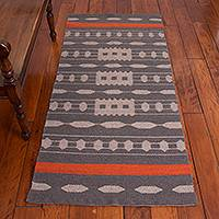 Reversible llama wool area rug, 'Ancestral Patterns in Grey' (2.5x5.5) - Llama Wool Area Rug in Grey and Taupe (2.5x5.5)