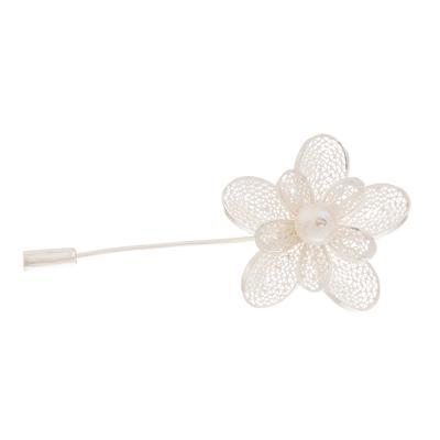 Floral Cultured Pearl Filigree Stickpin from Peru