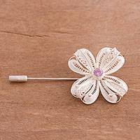 Sterling silver filigree stickpin, 'Purple Clover' - Floral Sterling Silver Filigree Stickpin with Purple CZ