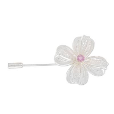 Floral Sterling Silver Filigree Stickpin with Purple CZ