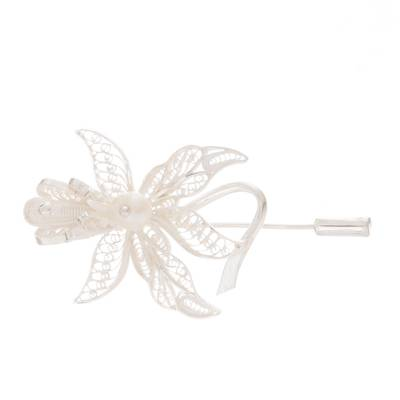Orchid-Shaped Cultured Pearl Filigree Stickpin from Peru
