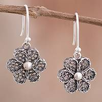 Sterling silver filigree dangle earrings, 'Coral Flowers' - Sterling Silver Filigree Dangle Earrings from Peru