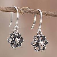Sterling silver filigree dangle earrings, 'Little River Flowers' - Floral Sterling Silver Filigree Earrings from Peru