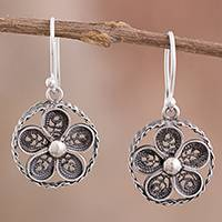 Sterling silver filigree dangle earrings, 'Treasured Flowers' - Circular Sterling Silver Filigree Flower Earrings from Peru