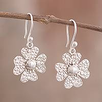 Sterling silver dangle earrings, 'Elegant Clover' - Textured Four-Leaf Clover Sterling Silver Dangle Earrings