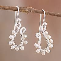 Cultured pearl dangle earrings, 'Heaven's Treasure' - Silver and Cultured Pearl Dangle Earrings from Peru