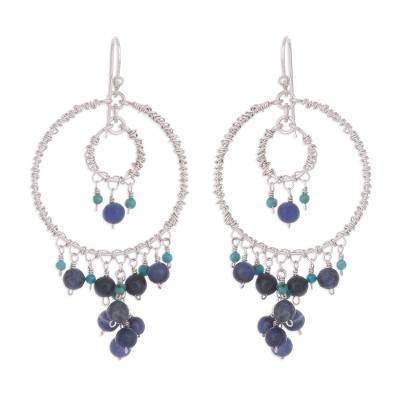 Silver Chandelier Earrings with Sodalite and Turquoise