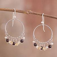 Multi-gemstone dangle earrings, 'Festive Array' - Multi Gemstone 950 Silver Dangle Earrings from Peru