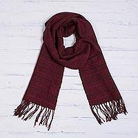 Baby alpaca blend scarf, 'Hypnotic Squares' - Handwoven Baby Alpaca Blend Scarf in Red from Peru