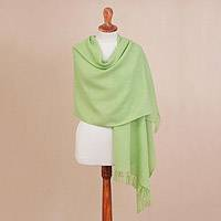 Baby alpaca blend shawl, 'Romantic Mint' - Handwoven Baby Alpaca Blend Shawl in Mint from Peru