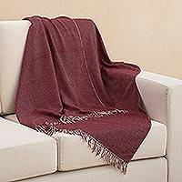 Baby alpaca blend throw, 'Dotted Comfort in Wine' - Handwoven Baby Alpaca Blend Throw in Wine from Peru