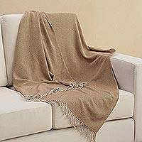 Baby alpaca blend throw, 'Dotted Comfort in Tan' - Handwoven Baby Alpaca Blend Throw in Tan from Peru