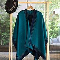 Alpaca blend ruana, 'Delightful Fantasy in Teal' - Reversible Alpaca Blend Ruana in Navy and Teal