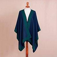 Alpaca blend ruana, 'Delightful Fantasy in Navy' - Reversible Alpaca Blend Ruana in Navy and Kelly Green