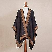 Reversible alpaca blend poncho, 'Delightful Fantasy in Espresso' - Reversible Alpaca Blend Ruana in Espresso and Tan from Peru
