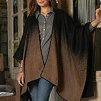 Alpaca blend ruana, 'Andean Wind in Tan' - Reversible Alpaca Blend Ruana in Tan and Black