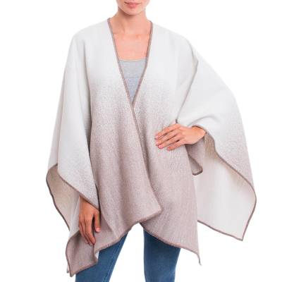 Reversible Alpaca Blend Ruana in Taupe and Snow White