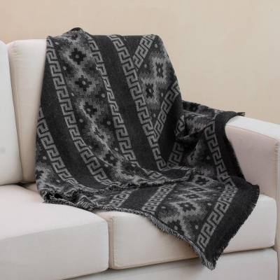 Reversible alpaca blend throw, 'Andean Cross in Smoke' - Alpaca Blend Throw with Andean Crosses in Smoke and Black