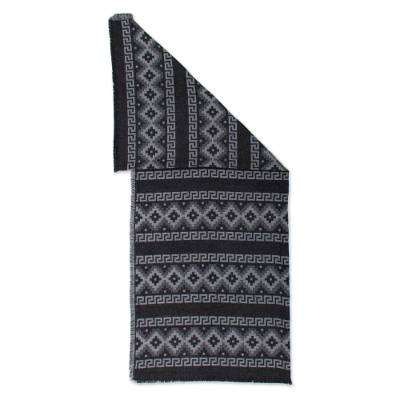 Alpaca Blend Throw with Andean Crosses in Smoke and Black