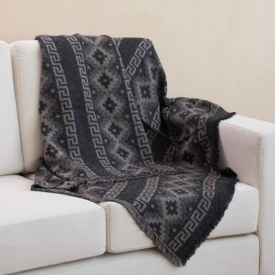 Reversible alpaca blend throw, 'Andean Cross in Taupe' - Alpaca Blend Throw with Andean Crosses in Taupe and Black
