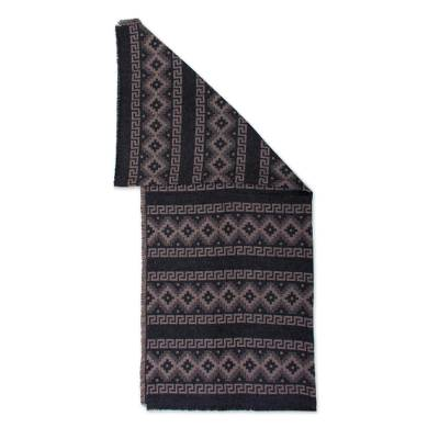 Alpaca Blend Throw with Andean Crosses in Taupe and Black
