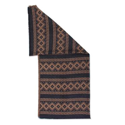 Alpaca Blend Throw with Andean Crosses in Tan and Black