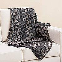 Alpaca blend throw, 'Andean Labyrinth in Taupe' - Alpaca Blend Throw with Geometric Motifs in Taupe and Black