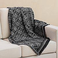 Alpaca blend throw, 'Andean Squares in Smoke' - Alpaca Blend Throw with Square Motifs in Smoke and Black