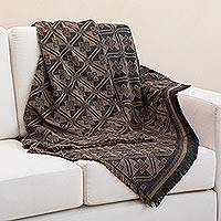 Alpaca blend throw, 'Andean Squares in Tan' - Alpaca Blend Throw with Square Motifs in Tan and Black
