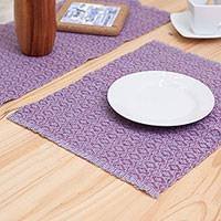 Wool table linen set, 'Mauve Perfection' (7 pieces) - Mauve Wool Placemats and Runner from Peru (7 Pieces)