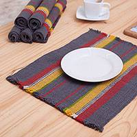 Wool placemats, 'Evening Meal' (set of 6) - Set of Six Wool Placemats from Peru