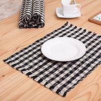 Wool placemats, 'Plaid Perfection' (set of 6) - Plaid Wool Table Linen Set of Six Placemats