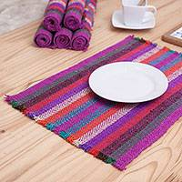 Wool placemats, 'Bright Kitchen' (set of 6) - Set of Six Striped Wool Placemats from Peru
