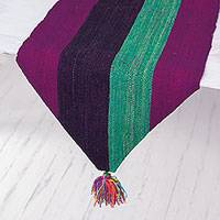 Wool table runner, 'Glorious Stripes' - Hand Woven Striped Wool Table Runner from Peru