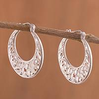 Sterling silver hoop earrings, 'Curling Winds' - Sterling Silver Scroll Openwork Circle Hoop Earrings