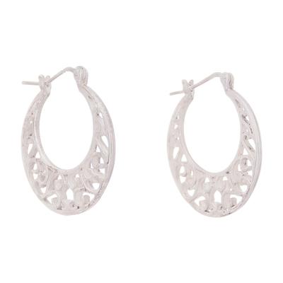 Sterling Silver Scroll Openwork Circle Hoop Earrings