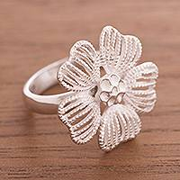 Sterling silver cocktail ring, 'Showstopper' - Handcrafted Sterling Silver Flower Cocktail Ring from Peru